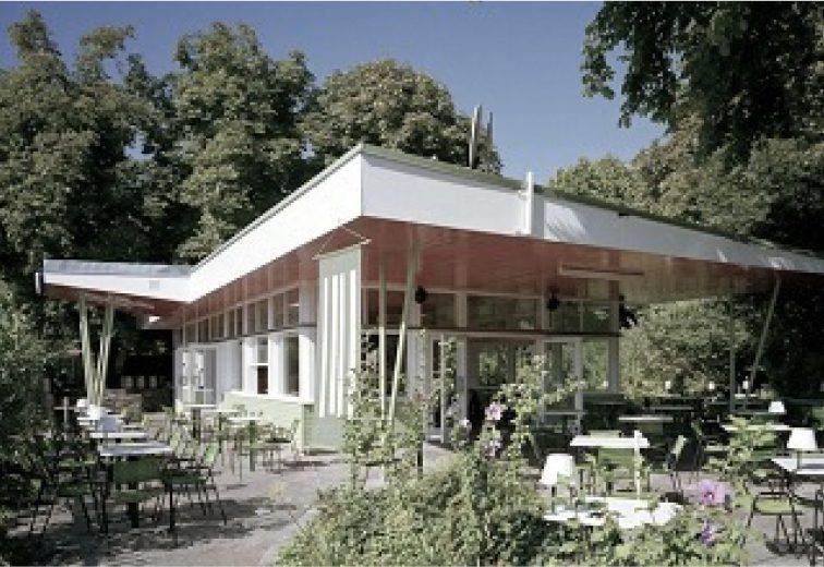 """""""Milchpavillon"""", Oswald Haerdtl 1952, Volksgarten, 1010 Wien. (Bild: https://images.app.goo.gl/u32mz45ACDAfQZag6)"""