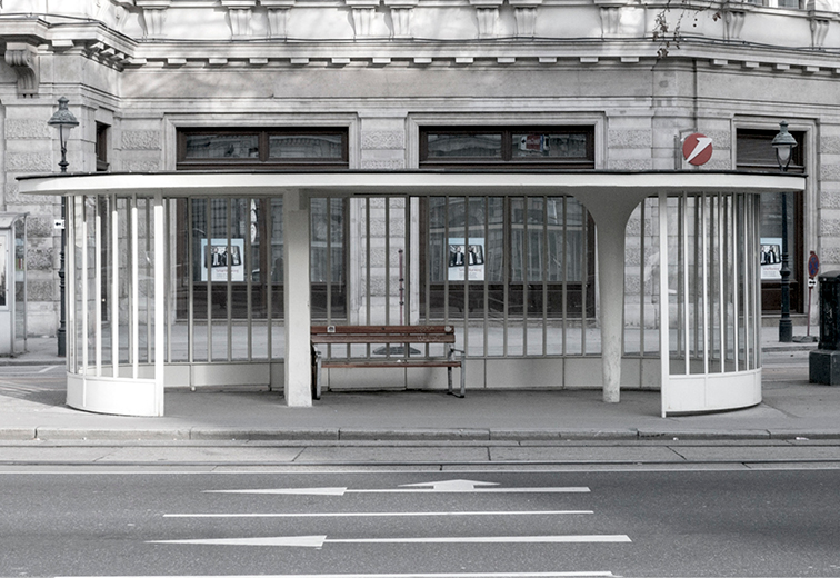 Wartehäuschen der Ringlinien, 1954, vor Schubertring 14, 1010 Wien.  (Bild: https://images.app.goo.gl/AGuuN9MM8o87YYQ38)