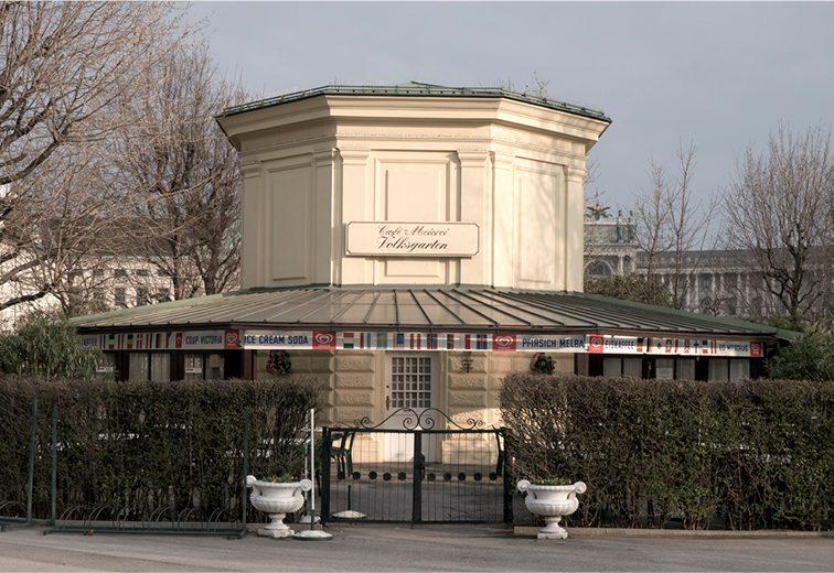 Café Meierei Volksgarten, 1890-1901 als Wasserreservoirhäuschen erbaut, 1924 umgebaut, 1010 Wien. (Bild: wikimedia.org)